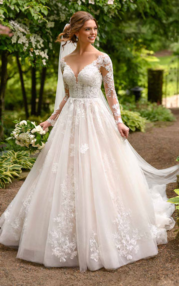 Lace ball gown wedding dress with sleeves from Essense of Australia