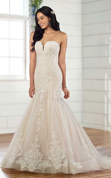 Stunning strapless fit and flare wedding dress from Essense of Australia