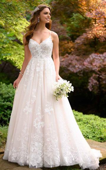Bride wearing romantic A-line bridal gown