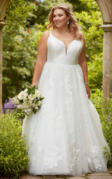 Plus-size v-neck ballgown wedding dress from Essense of Australia
