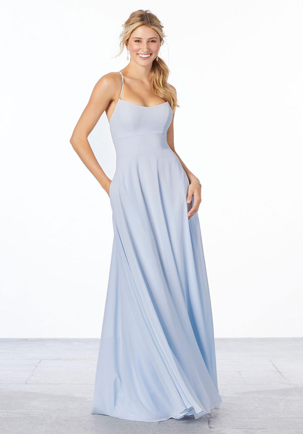 Light blue chiffon A-line Mori Lee bridesmaids dress with pockets and spaghetti straps