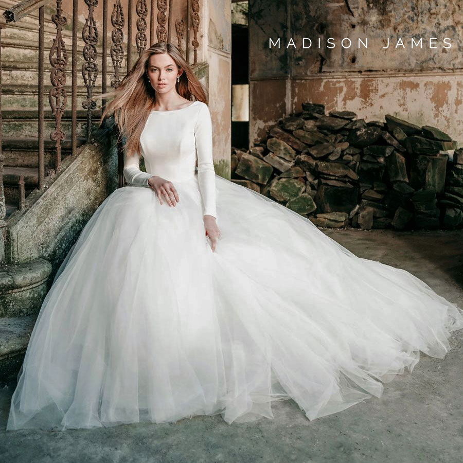 Madison James ball gown wedding dress with long sleeves