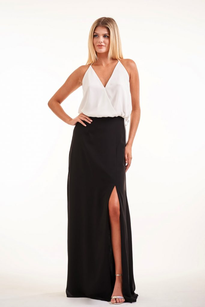 Tw0-piece black and white bridesmaids dress with halter neck