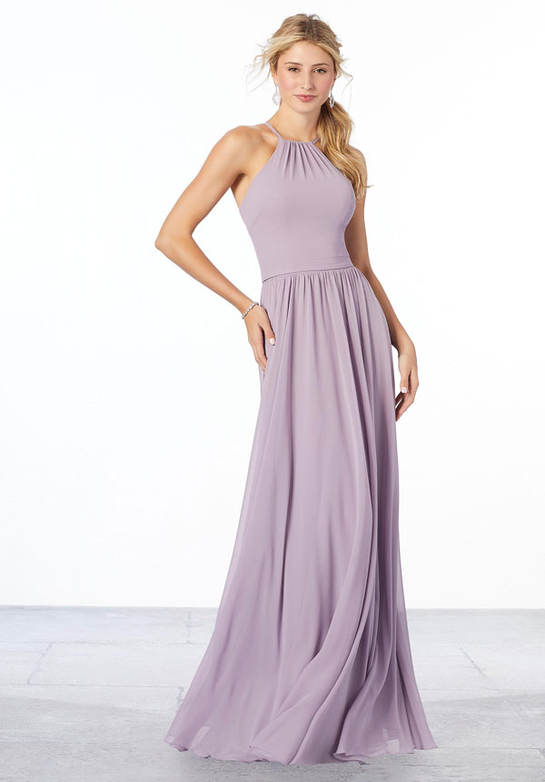Classic lilac chiffon Mori Lee bridesmaids dress featuring a high halter neckline and flowing A-line skirt