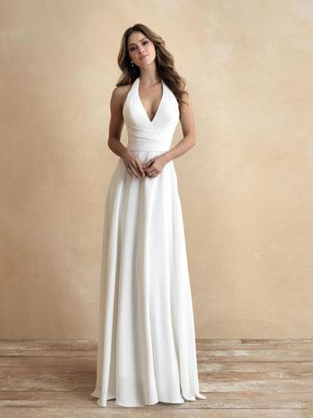 Bride wearing classic wedding dress with halter neckline