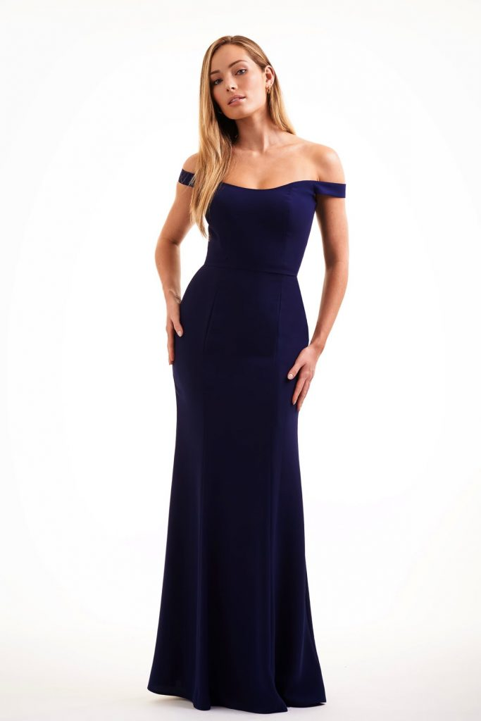 Long navy blue Jasmine bridesmaids dress with off the shoulder cap sleeves