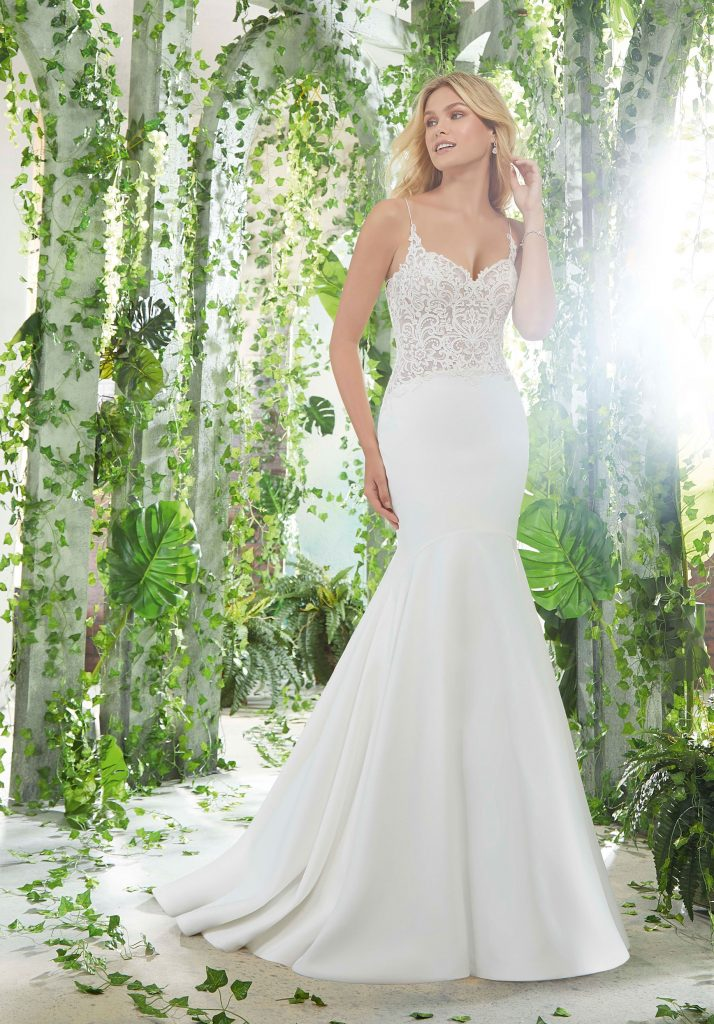 Sleeveless fit and flare bridal gown from Mori Lee