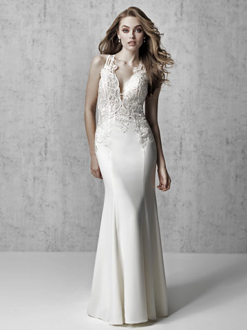 Sleeveless lace and crepe sheath wedding gown