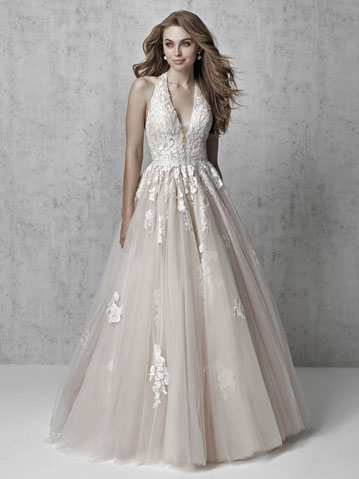 Lace and tulle A-line wedding dress with halter neckline