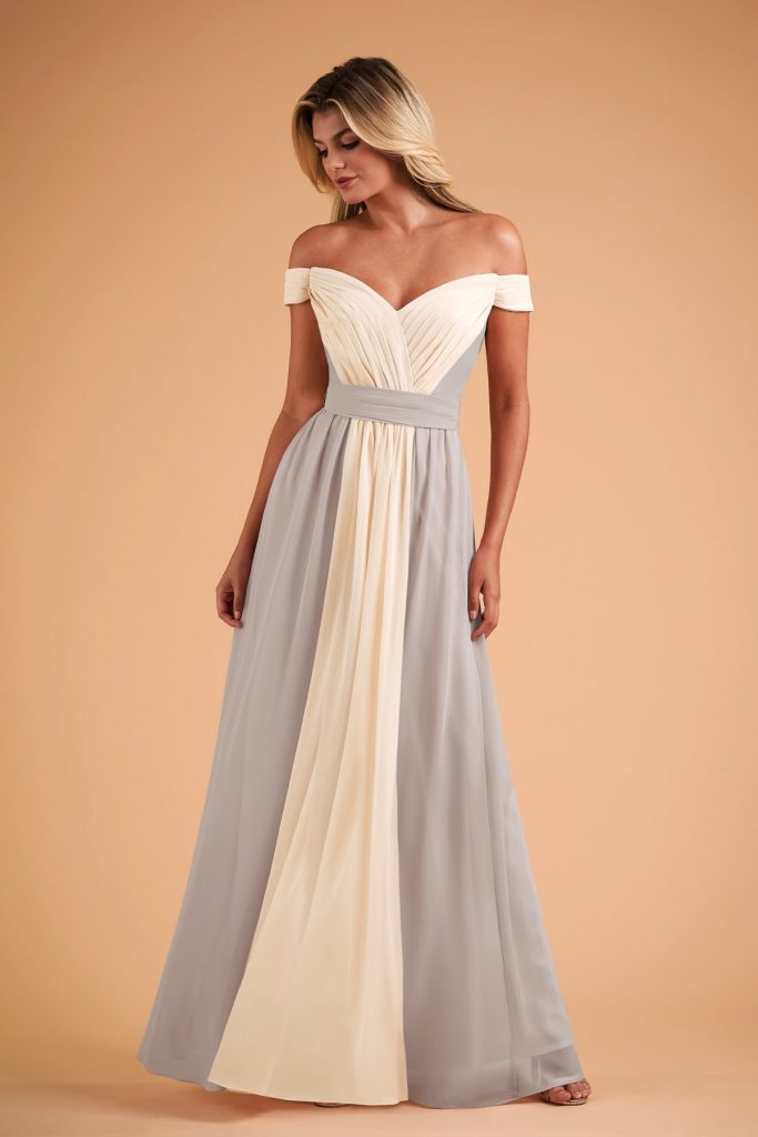 Long two-tone B2 bridesmaids dress with off the shoulder cap sleeves