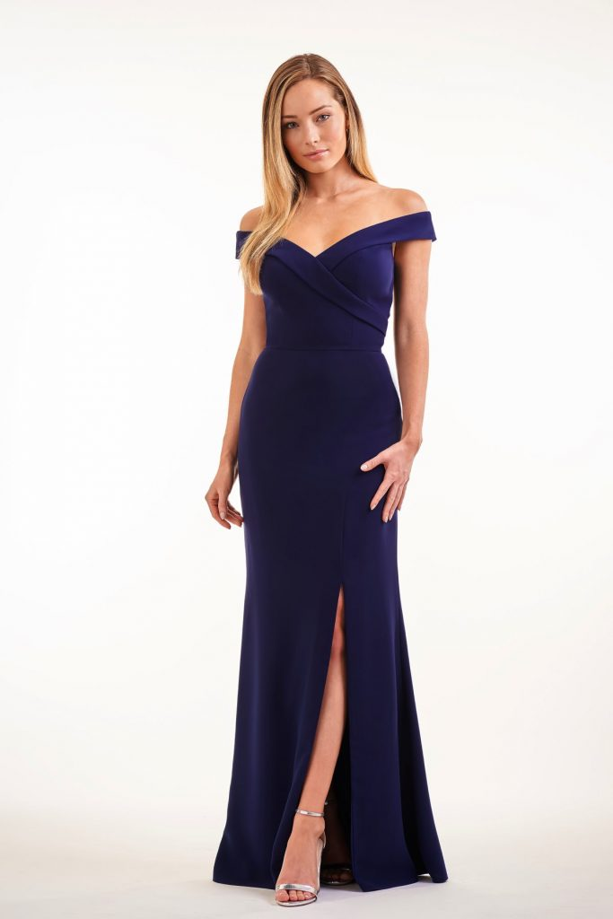 Dark blue formal dress with side slit from Jasmine Bridesmaids