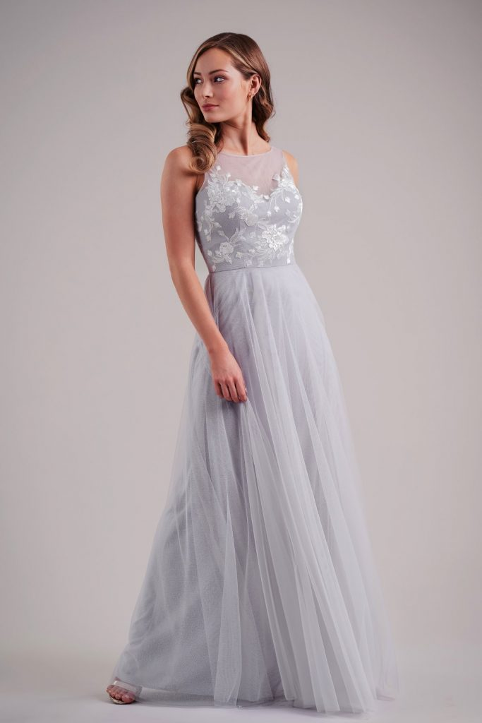 Long A-line formal dress with flowy skirt and illusion neckline