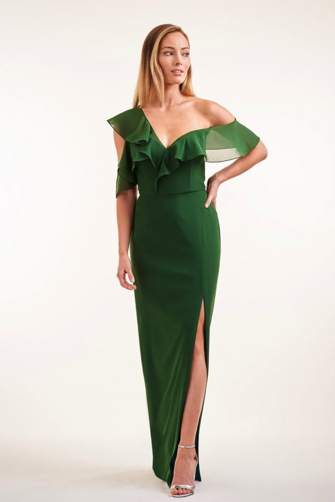 Long green formal dress with one shoulder, from Jasmine Bridesmaids