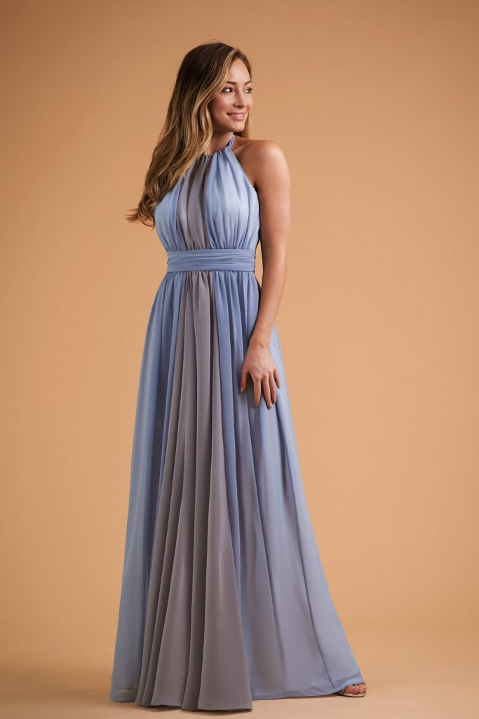 Long bridesmaids dress with halter neck