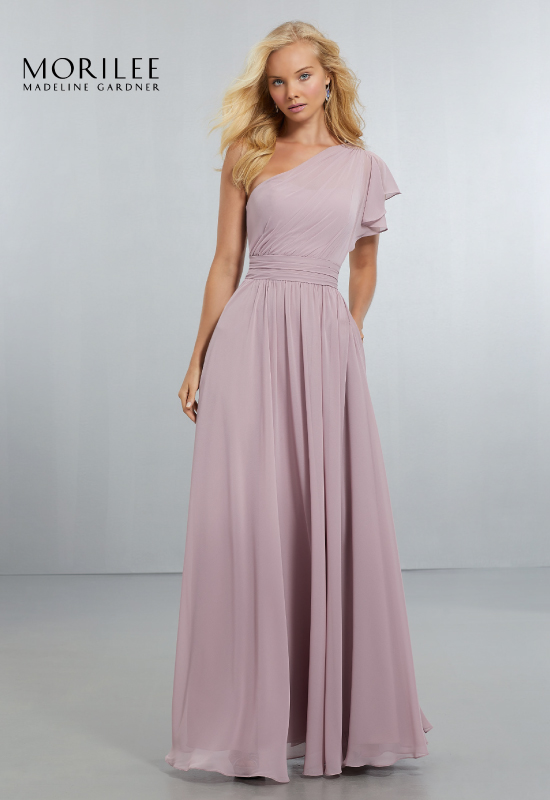 Long lavender bridesmaids dress with one shoulder