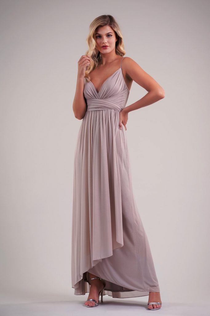 Long mauve-color bridesmaids dress with angled skirt and spaghetti straps