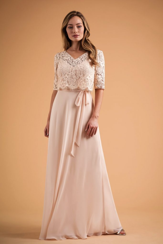 B2 Bridesmaids dress with lace sleeves