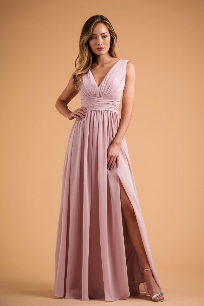 Long pink bridesmaids dress with V-neck