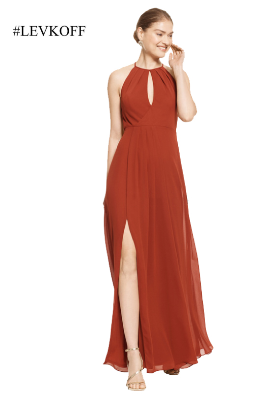 Affordable bridesmaid dress with side slit