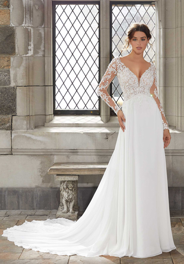 Beautiful A-line wedding dress with sleeves from Mori Lee