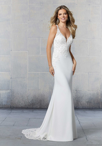 Sleeveless sheath bridal gown from Mori Lee by Madeline Gardner