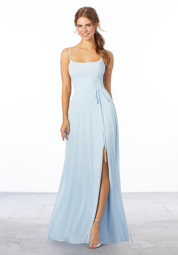 Young woman wearing sky blue chiffon A-line bridesmaid dress with side slit and matching tie sash