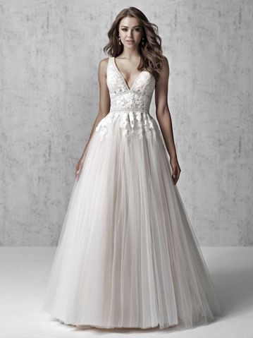 Sleeveless ball gown wedding dress with V-neck