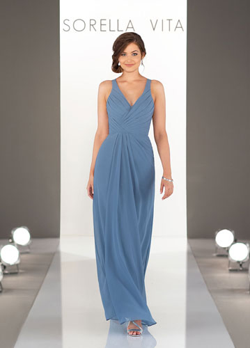 Periwinkle-color long Sorella Vita bridesmaids dres with V-neck