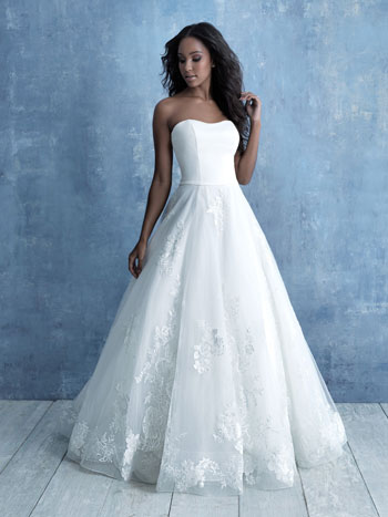 Strapless ball gown wedding dress from Allure Bridals