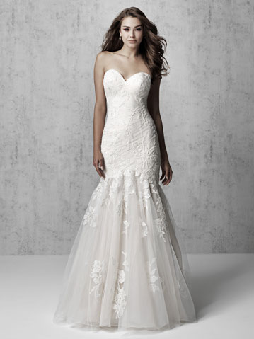 Strapless fit and flare lace wedding dress from Madison James