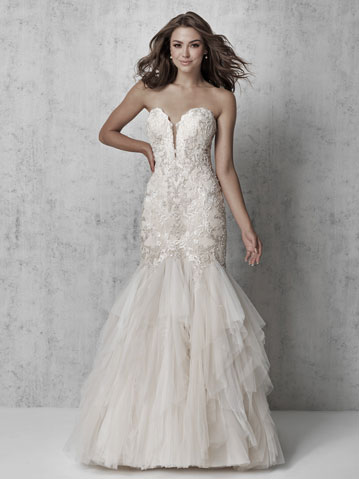 Madison James strapless fit and flare bridal gown with tiered skirt