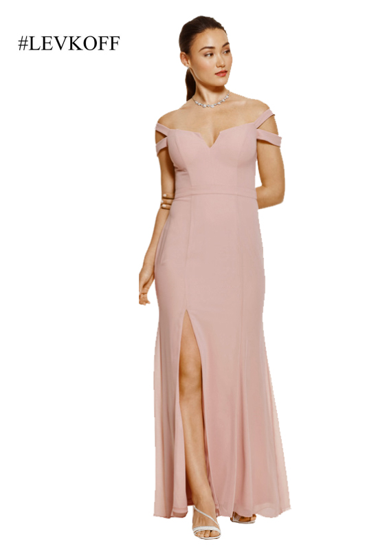 Pink bridesmaids dress with strappy shoulders