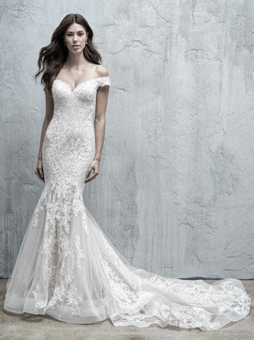 Trumpet wedding dress with off the shoulder cap sleeves
