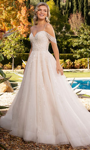 A-line wedding dress with off-the-shoulder cap sleeves