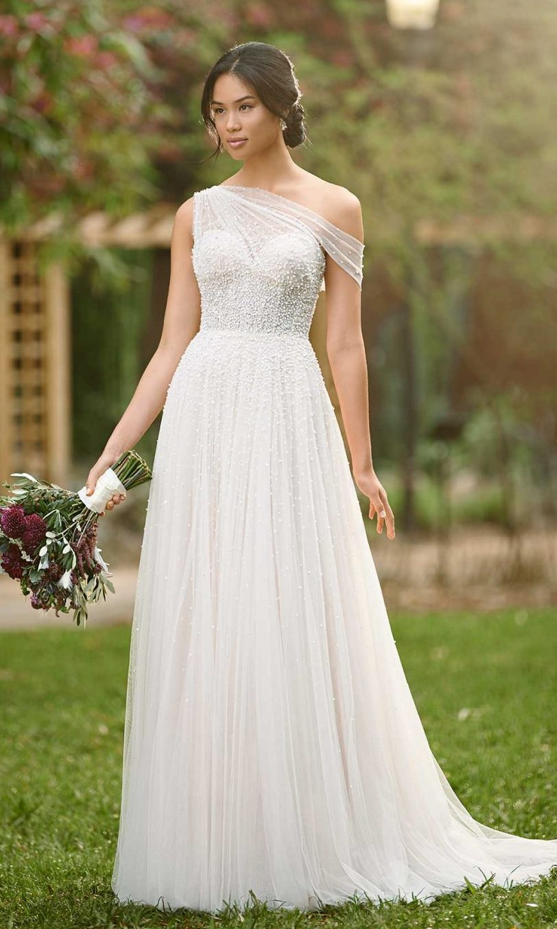 Grecian Godess Wedding Dress with asymetrical off-the-shoulder neckline