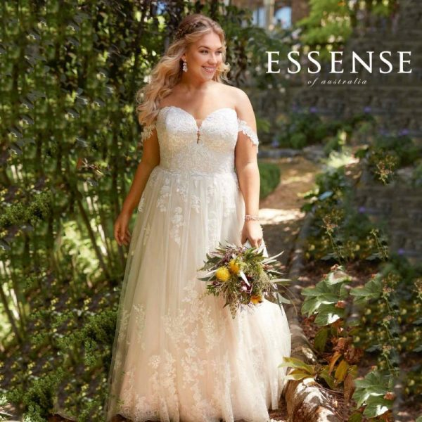 Off the shoulder lace plus-size wedding dress from Essense of Australia