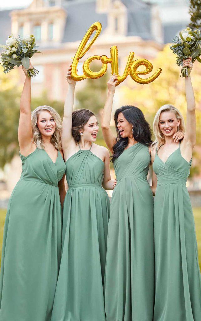 Sage-colored bridesmaids dresses