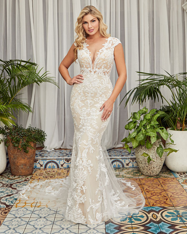 Lace fit and flare bridal gown from Beloved by Casablanca