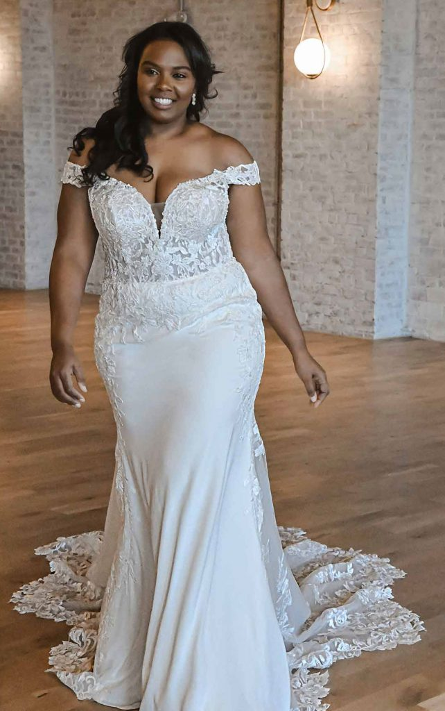 Romantic Off-The-Shoulder Plus-Size Fit-and-Flare Wedding Dress