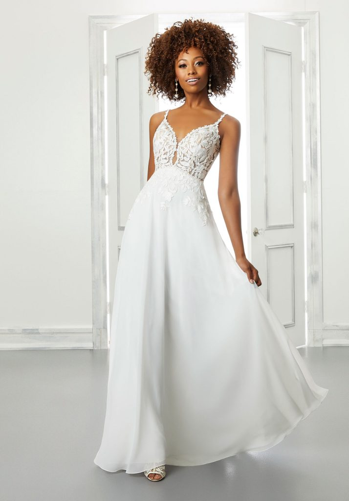 Strapless A-line wedding dress with spaghetti straps
