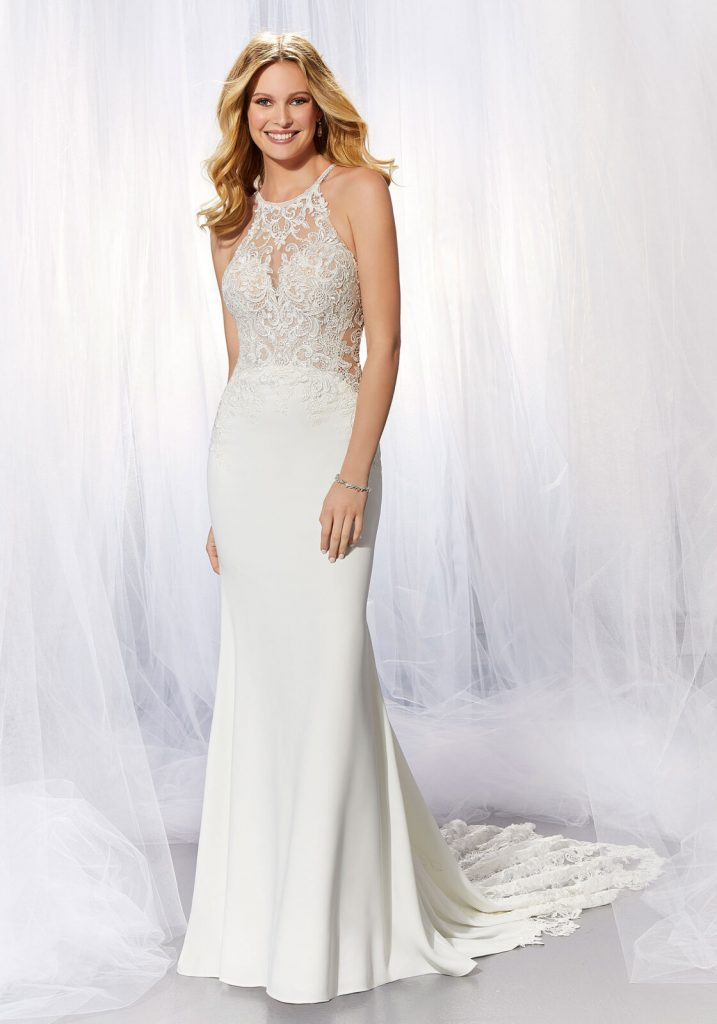 Classic sheath wedding dress with high halter neck