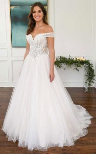 Off-The-Shoulder Sparkly Ballgown Wedding Dress