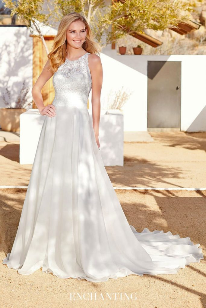 Beautiful A-line bridal gown with high neck