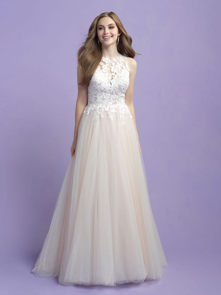 Romantic A-line wedding dress with high neck