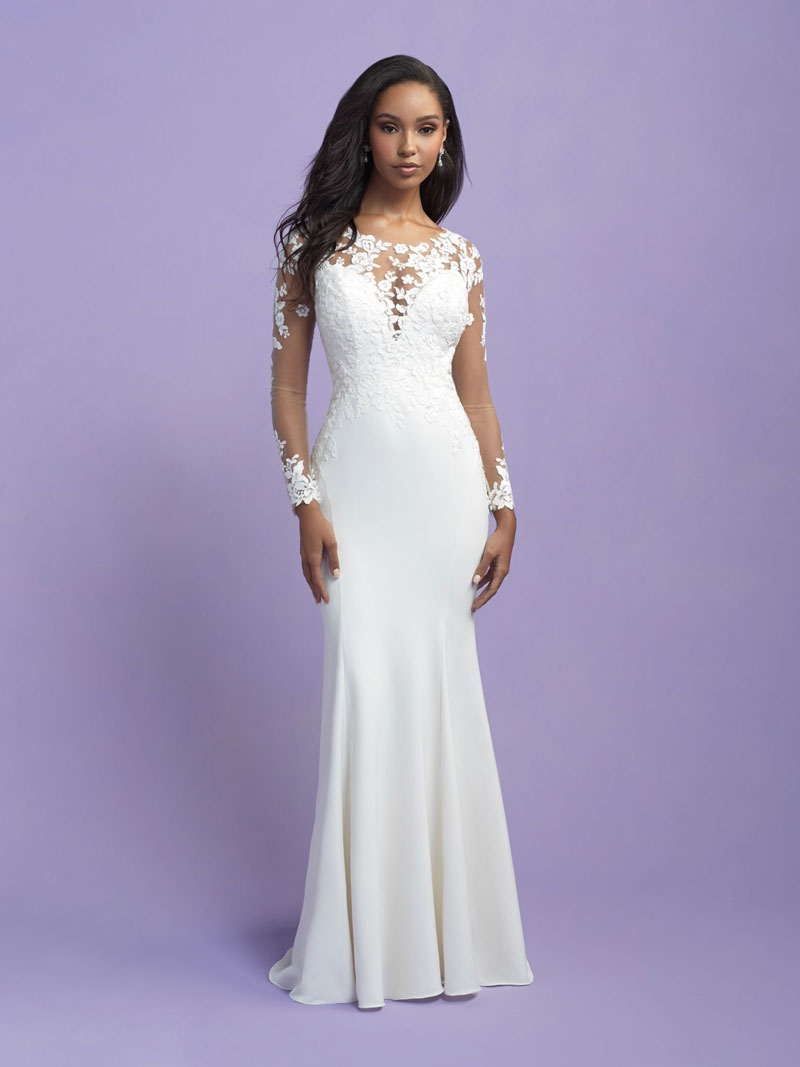 Sexy fit and flare wedding dress with long sleeves