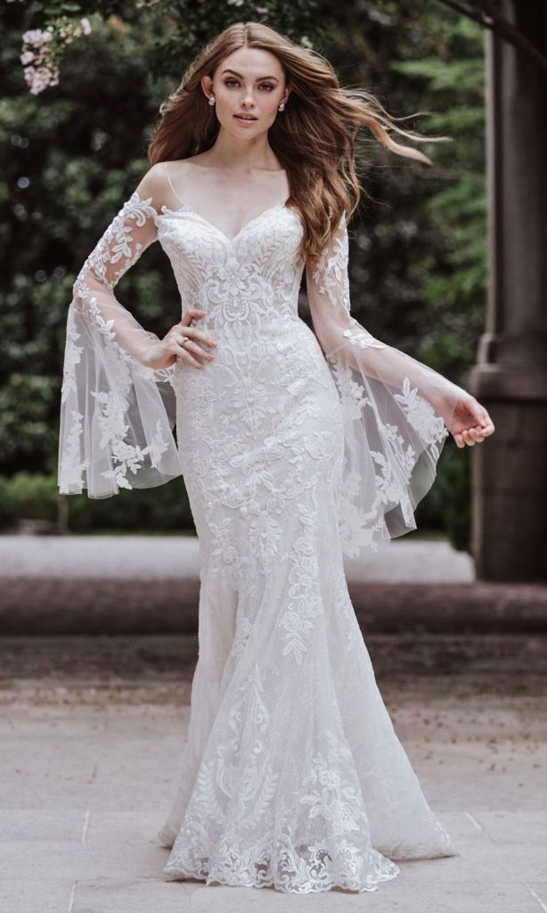 FIt and flare wedding dress with big bell sleeves by Madison James