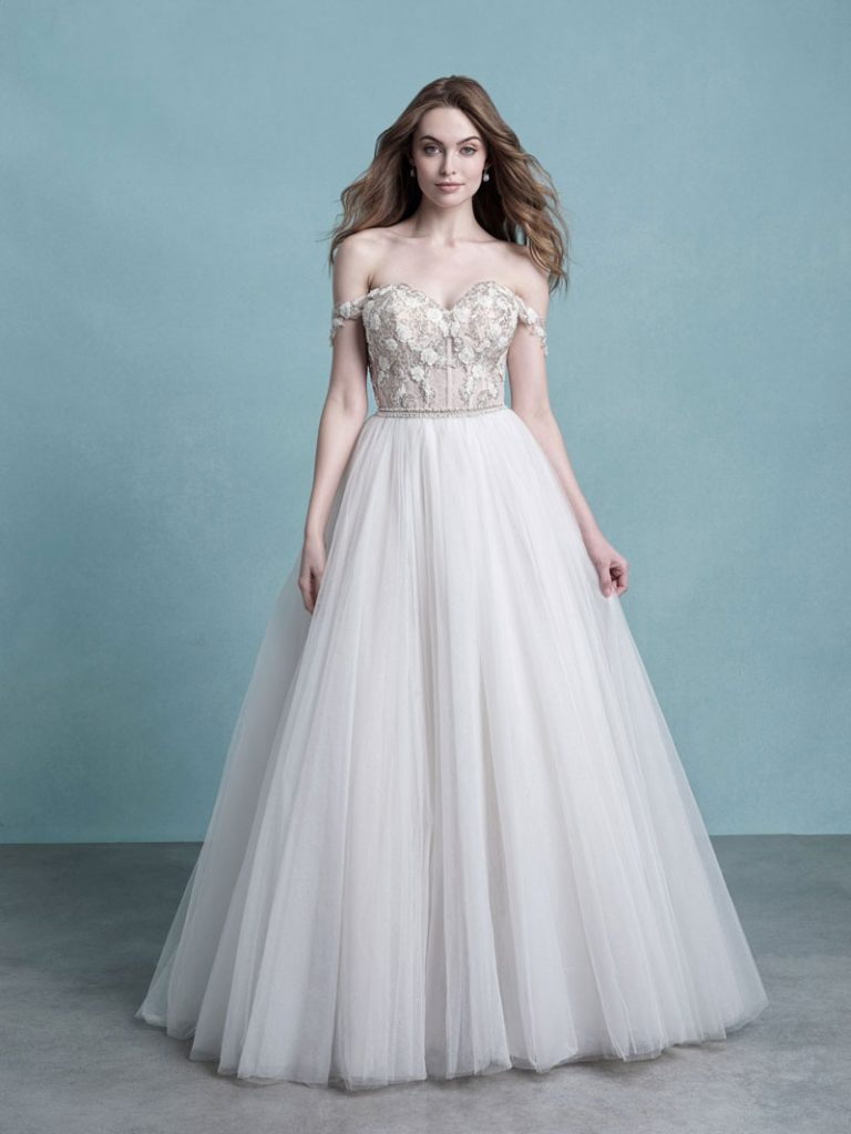 Beautiful ballgown wedding dress with off-the-shoulder cap sleeves