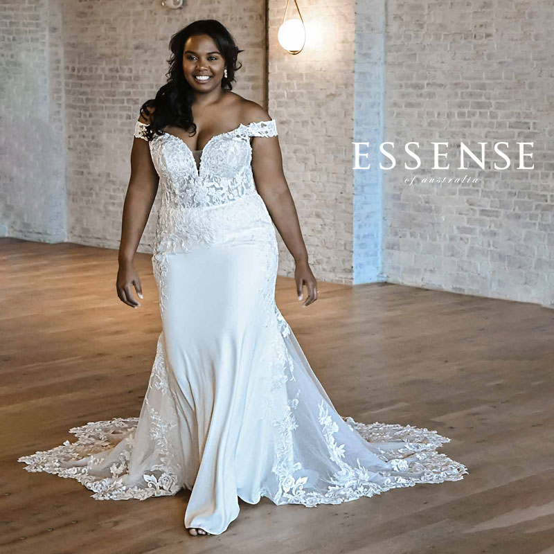 Plus-size fit and flare wedding dress with off-the-shoulder cap sleeves