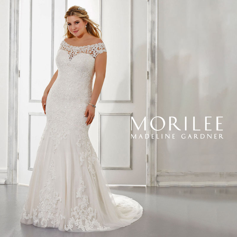 Plus-Size off-the-shoulder fit and flare wedding dress from Morilee by Madeline Gardner