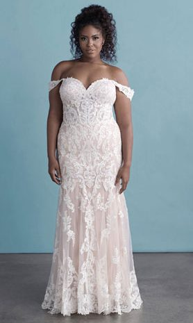 Plus-size off-the-shoulder lace fit & flare wedding dress